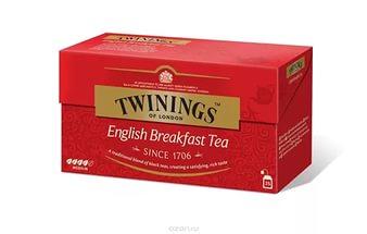 Чай в пакетиках черный Twinings English Breakfast tea 25 шт. электрогитара gibson lp studio 2016 t wine red chrome
