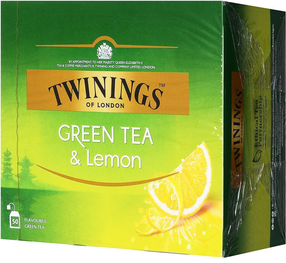 Чай в пакетиках зеленый с лимоном Twinings Green Tea Lemon 100 шт. wholesale 1kg dry lemon slice chinese herbal flower tea tisane caffeine free fruit tea 100