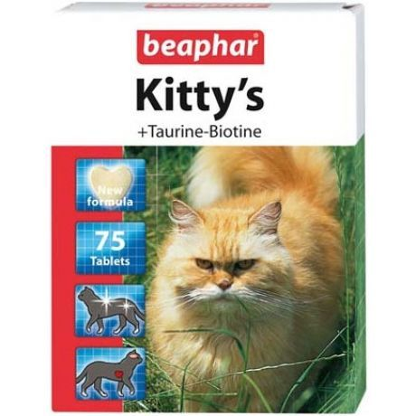 Витамины для кошек Beaphar Kitty's с таурином и биотином сердечки 75 таб